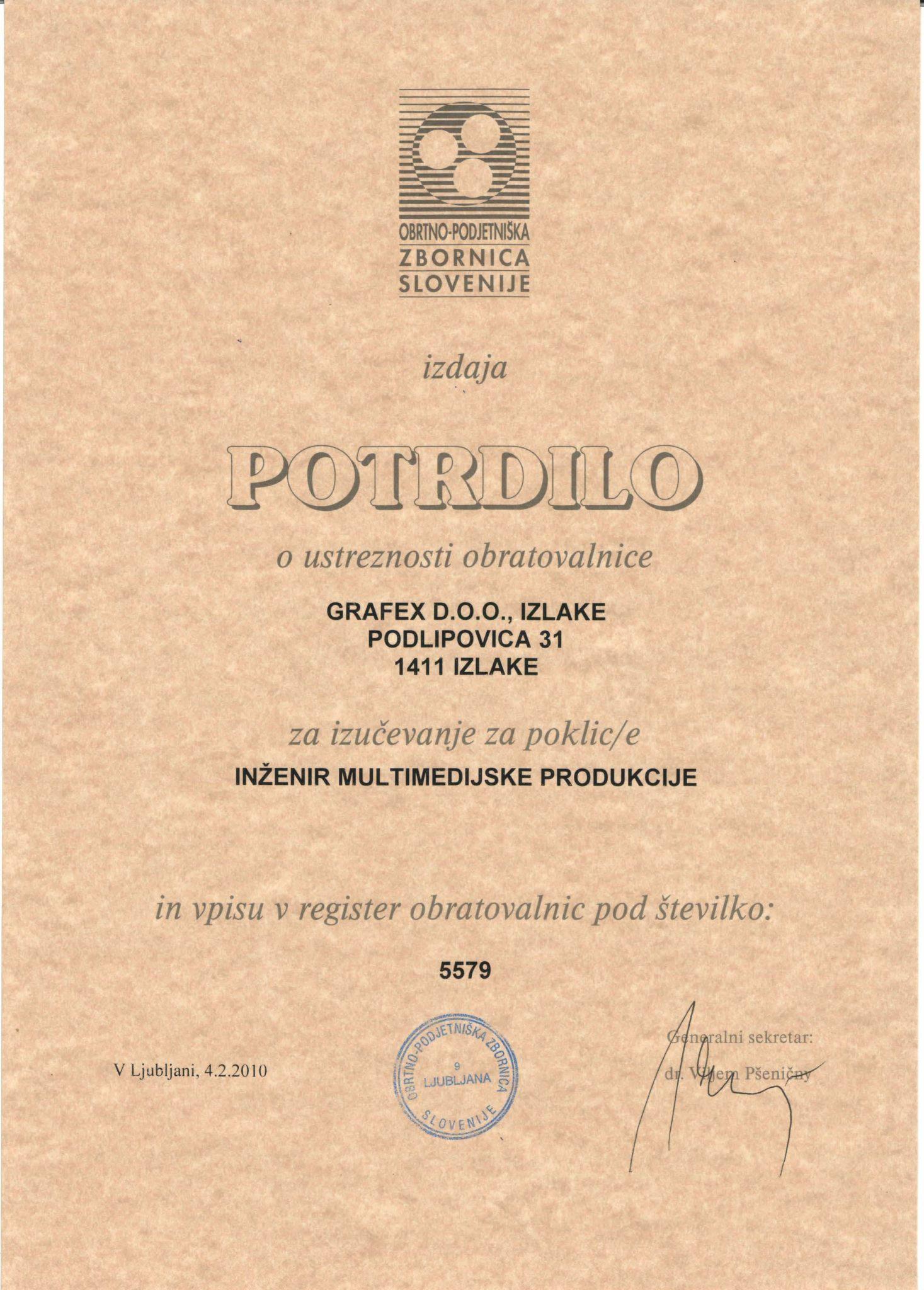 Grafex je dobil verifikacijo za izučevanje poklica inženirja multimedijske produkcije